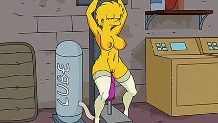 Порно мульт симпсоны, где связанная блондинка прыгает на резиновом самотыке