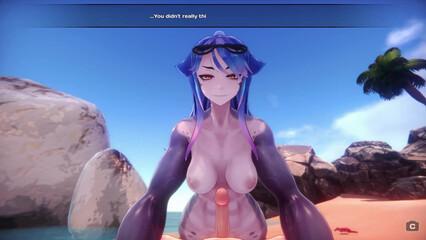 Шок! Хентай парень трахнул на пляже акулу-девушку